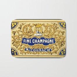 Vintage French Fine Champagne Cognac Bottle Label Print Bath Mat