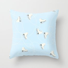Ice Skating on Ice Blue Background Throw Pillow