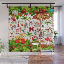 Holiday festive red green holly Christmas pattern Wall Mural