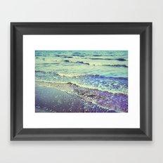 Retro beach. Summer Waves Framed Art Print
