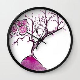 Magenta tree Wall Clock