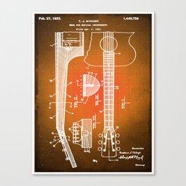 Gibson Thaddeus J Mchugh Guitar Patent Blueprint Drawing Sepia Canvas Print