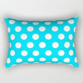 Titik Putih Latar Biru Rectangular Pillow