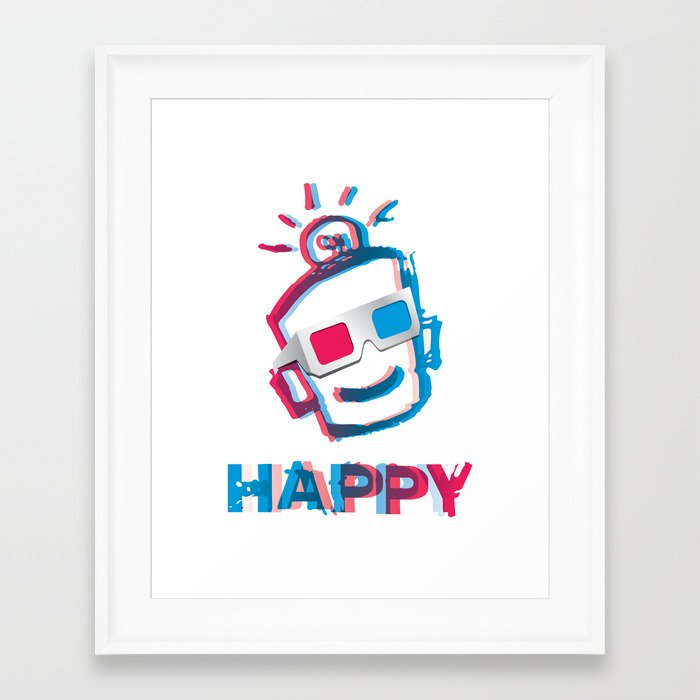 3D HAPPY Framed Art Print