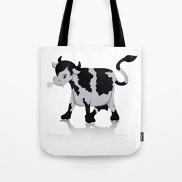 Cow chewing flower Tote Bag