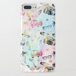 Beach time- Tropical summer watercolor pattern iPhone Case