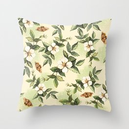 Delicate pattern with flowers and butterflies hips Throw Pillow