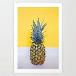 Pineapple on Yellow Art Print