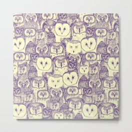 just owls purple cream Metal Print