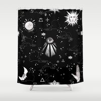 alchemy Shower Curtains featuring Spiritual Alchemy by Deborah Panesar Illustration