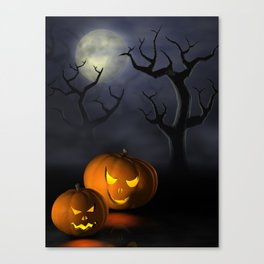 I - Halloween pumpkins in a spooky forest at night Canvas Print