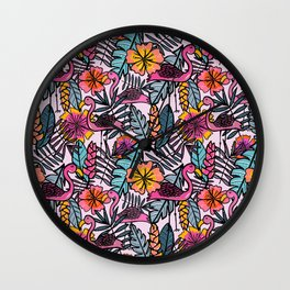 Flamingos - by Kara Peters Wall Clock