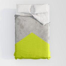 Geometric Concrete Arrow Design - Neon Yellow #521 Duvet Cover