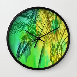 isolate palm tree with painting abstract background in green yellow Wall Clock