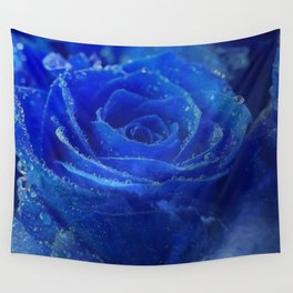 Blue Rose and Sky Wall Tapestry