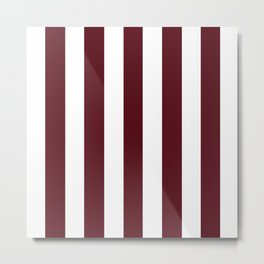 Chocolate cosmos purple - solid color - white vertical lines pattern Metal Print