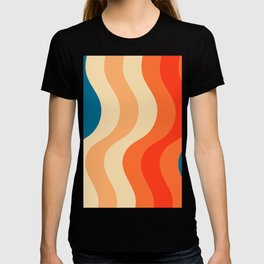70's and 80's retro colors curving stripes T-shirt