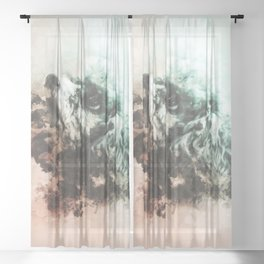 Poodle Digital Watercolor Painting Sheer Curtain