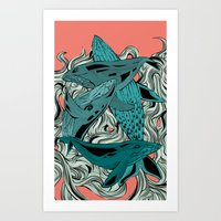 whales Art Prints featuring Whales by melcsee