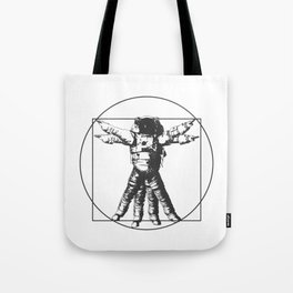 Vitruvian with spacer flair on white Tote Bag