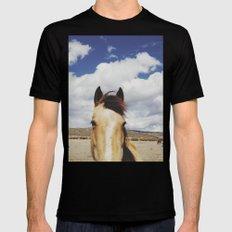 Cloudy Horse Head MEDIUM Mens Fitted Tee Black
