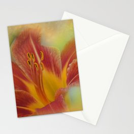 orange lily on texture Stationery Cards
