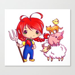 Lotje and the farm animals Canvas Print