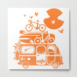 Funny family vacation camper Metal Print