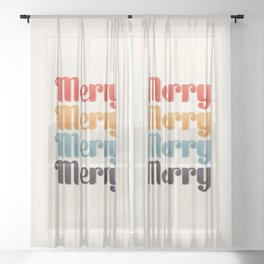 Merry typography Sheer Curtain