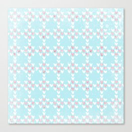 From Hearts Love And Christmas-Cute teal X-Mas Pattern Canvas Print