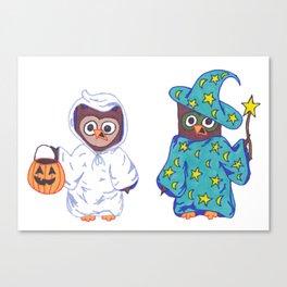 Trick or Treat Halloween Owls Canvas Print