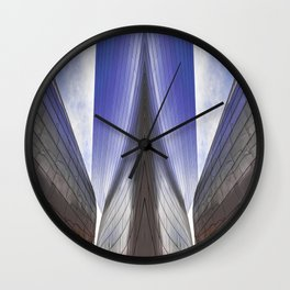 Architectural abstract of a metal clad building looming in symmetry. Wall Clock