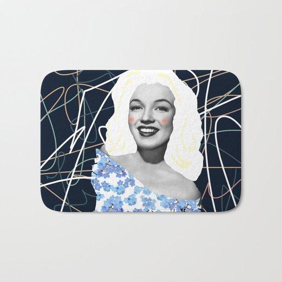 Marilyn in blue Bath Mat