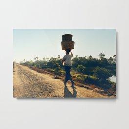 Lonely Burmese Farmer Metal Print
