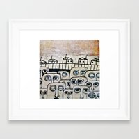 the neighbourhood Framed Art Prints featuring Crowded neighbourhood by Kaelyn Saunders