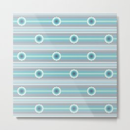 Concentric Circles and Stripes in Teals Metal Print