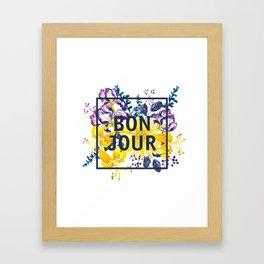 Bonjour floral print Framed Art Print