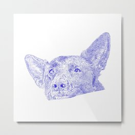 Mitzi takes it easy, blue Metal Print