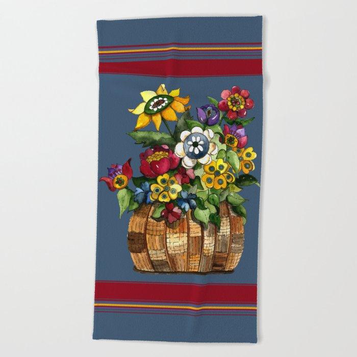 Happy Flowers Beach Towel