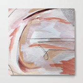 Away: an abstract mixed media piece in pinks and reds Metal Print
