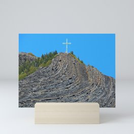 Bent rock Mountain cross Mini Art Print
