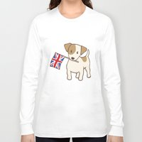 jack russell Long Sleeve T-shirts featuring Jack Russell Terrier and Union Jack Illustration by Li Kim Goh