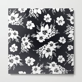 Black and white graphic floral pattern Metal Print