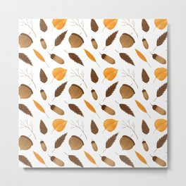 Autumn brown orange acorn fall leaves Metal Print