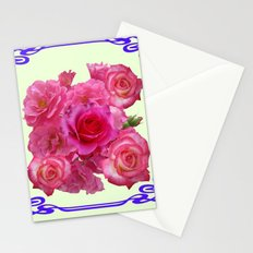 RED & PINK  ART NOUVEAU ROSES Stationery Cards