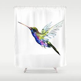 Flying Hummingbird, Blue green wall art minimalist bird Shower Curtain