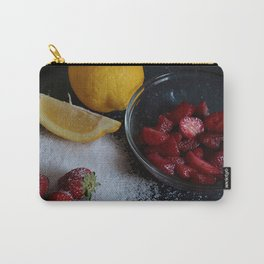 Bowl of strawberries with lemon and sugar on black board. Carry-All Pouch