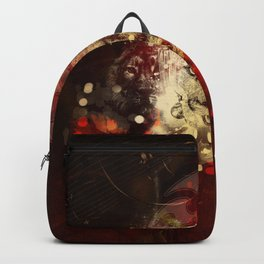 Awesome lion on vintage background Backpack