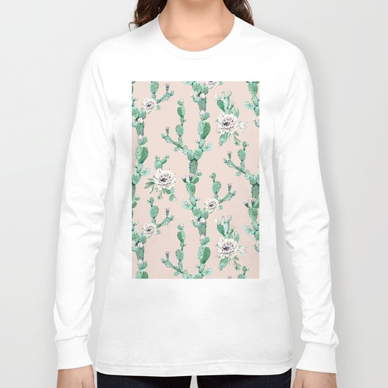 Green Coral Pink Cactus Rose Pattern Long Sleeve T-shirt
