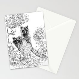 Raccoons in the Garden Stationery Cards
